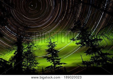 Star Trails And Northern Lights In Sky Over Taiga