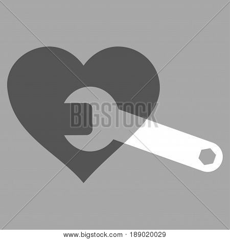 Heart Surgery Wrench flat icon. Vector bicolor dark gray and white symbol. Pictograph is isolated on a silver background. Trendy flat style illustration for web site design, logo, ads, apps,