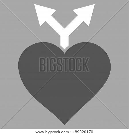 Love Variants flat icon. Vector bicolor dark gray and white symbol. Pictograph is isolated on a silver background. Trendy flat style illustration for web site design, logo, ads, apps, user interface.