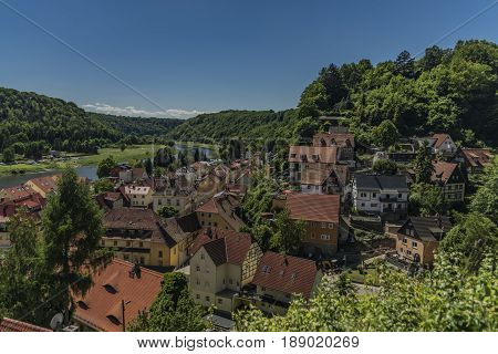 Stadt Wehlen in valley of river Labe or Elbe in spring sunny day