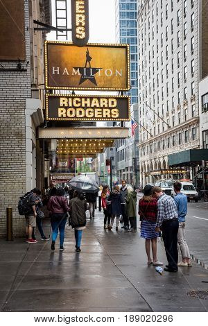 NEW YORK-MAY 5 - Outside the Richard Rogers Theater where the play Hamilton has been since August 2015 as seen on May 5 2017 in New York City.