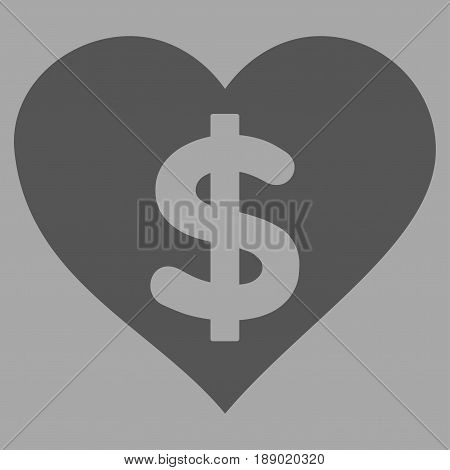 Paid Love flat icon. Vector dark gray symbol. Pictogram is isolated on a silver background. Trendy flat style illustration for web site design, logo, ads, apps, user interface.