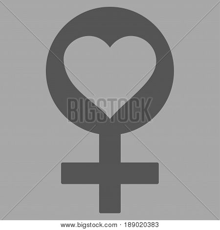 Woman Love Symbol flat icon. Vector dark gray symbol. Pictogram is isolated on a silver background. Trendy flat style illustration for web site design, logo, ads, apps, user interface.