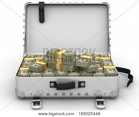 A suitcase filled with bundles of US dollars. Isolated. 3D Illustration