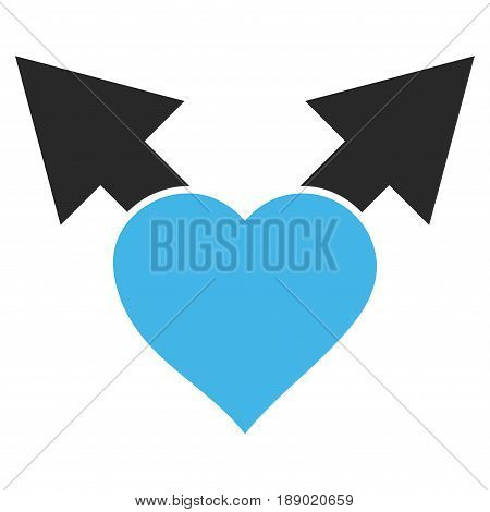 Love Variant Arrows flat icon. Vector bicolor blue and gray symbol. Pictogram is isolated on a white background. Trendy flat style illustration for web site design, logo, ads, apps, user interface.