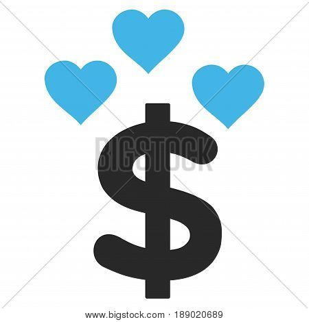 Lovely Dollar flat icon. Vector bicolor blue and gray symbol. Pictogram is isolated on a white background. Trendy flat style illustration for web site design, logo, ads, apps, user interface.