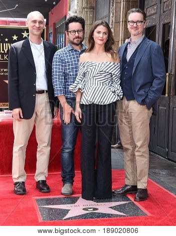 LOS ANGELES - MAY 30:  Joel Fields, Keri Russell, J.J. Abrams and Matt Reeves arrives for the Walk of Fame honoring Keri Russell on May 30, 2017 in Hollywood, CA
