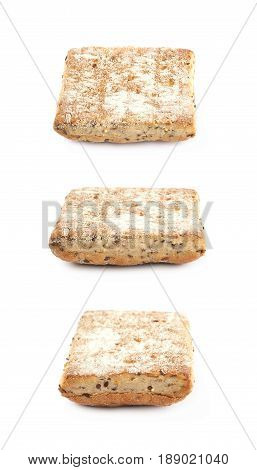 Square burger bread with the sesame seeds isolated over the white background, set of three different foreshortenings