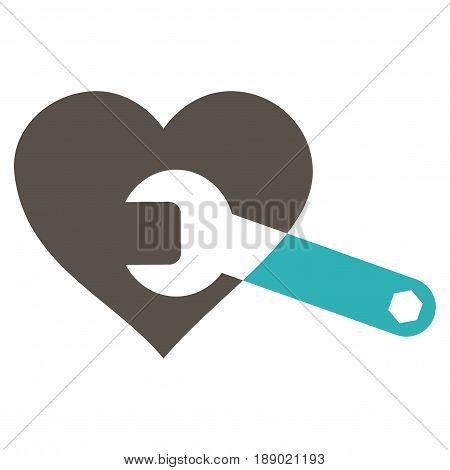 Heart Surgery Wrench flat icon. Vector bicolor grey and cyan symbol. Pictograph is isolated on a white background. Trendy flat style illustration for web site design, logo, ads, apps, user interface.