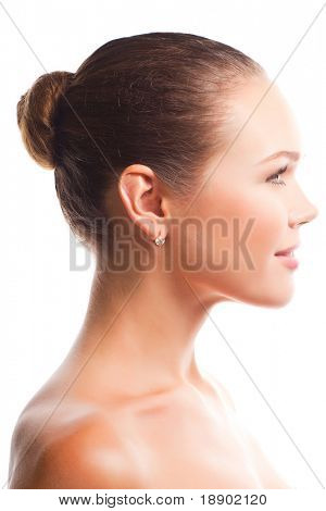 profile of beautiful woman isolated on white background