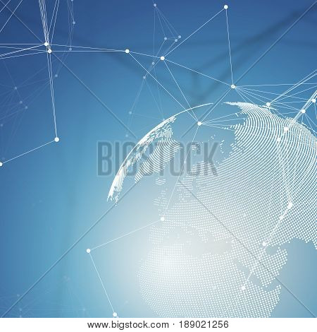 Dotted world globe with chemistry pattern, connecting lines and dots. Molecule structure on blue. Scientific medical DNA research. Science or medical concept. Geometric design abstract background