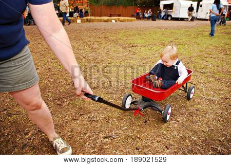Mother pulling toddler son in wagon at farm