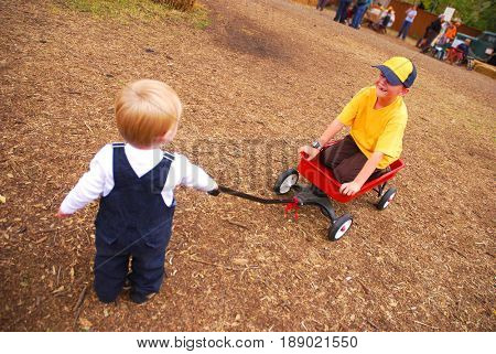 Brothers playing with a wagon on a farm