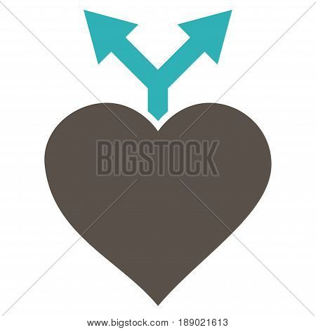 Love Variants flat icon. Vector bicolor grey and cyan symbol. Pictograph is isolated on a white background. Trendy flat style illustration for web site design, logo, ads, apps, user interface.