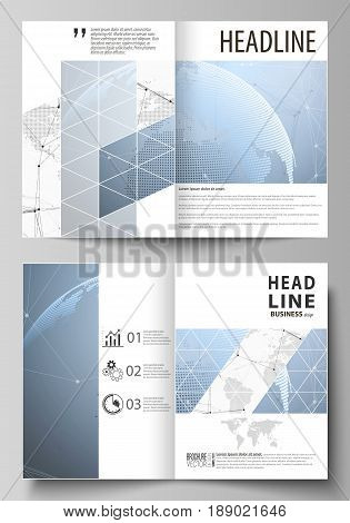 The vector illustration of the editable layout of two A4 format modern cover mockups design templates for brochure, flyer, booklet. World globe on blue. Global network connections, lines and dots
