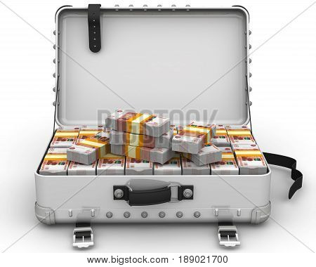 Suitcase full of Russian money. A suitcase filled with bundles of Russian rubles. Isolated. 3D Illustration