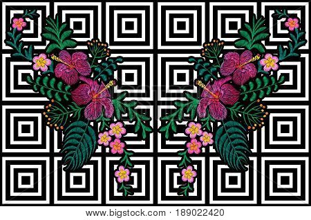 Flower reflection embroidery on black white seamless stripe background. Fashion print decoration plumeria hibiscus palm leaves. Tropical exotic blooming bouquet vector illustration art