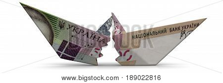 The crisis of the Ukrainian economy. Torn paper boat made from an Ukrainian banknote (hryvnia) on a white surface. Isolated. 3D Illustration