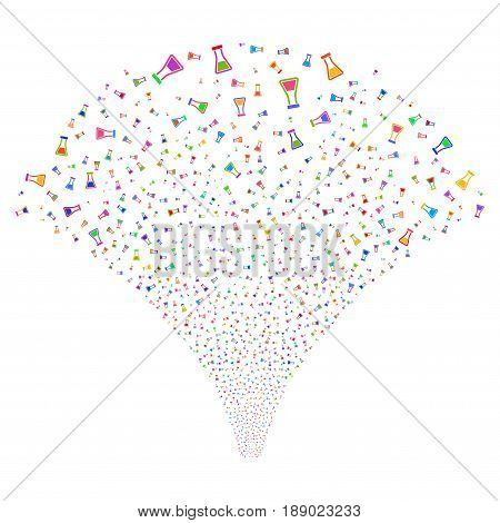 Flask salute stream. Vector illustration style is flat bright multicolored iconic symbols on a white background. Object fireworks fountain constructed from random symbols.