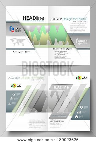 The vector illustration of the editable layout of two A4 format modern cover mockups design templates for brochure, flyer, report. Rows of colored diagram with peaks of different height