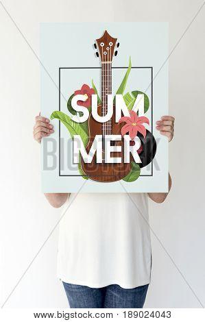 Summer Season Vacation Holiday Guitar Music Word Graphic