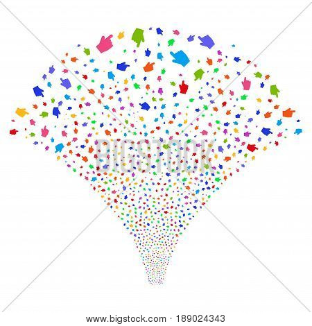 Index Finger salute stream. Vector illustration style is flat bright multicolored iconic symbols on a white background. Object stream fountain constructed from random symbols.