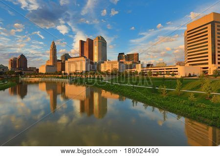 Columbus, Ohio during golden hour