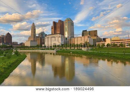 Columbus, Ohio during golden hour