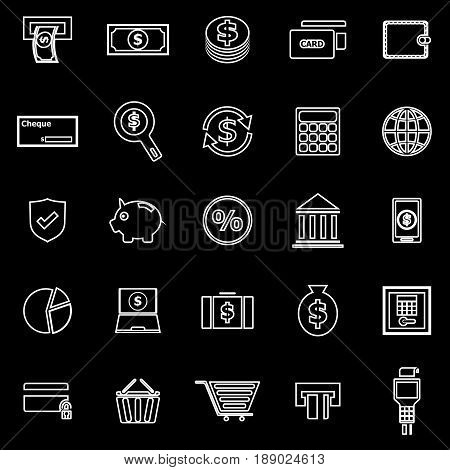 Payment line icons on black background, stock vector