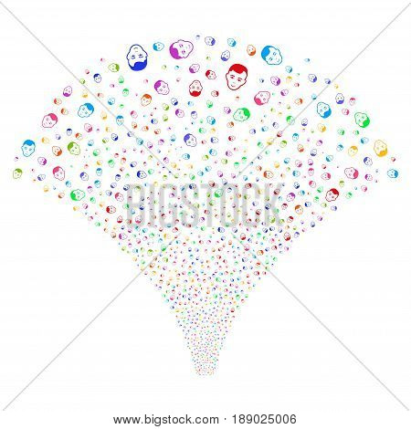 Man Head salute stream. Vector illustration style is flat bright multicolored iconic symbols on a white background. Object fireworks fountain combined from random design elements.