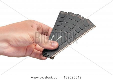 Computer RAM modules isolated over white background. Four dark modules