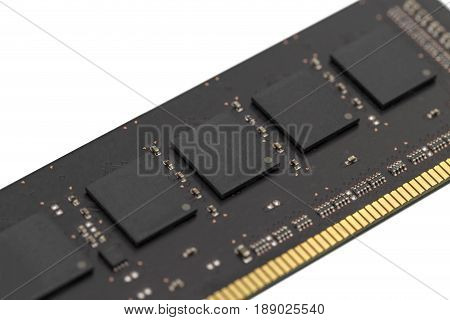 Computer RAM printed circuit board isolated. Close