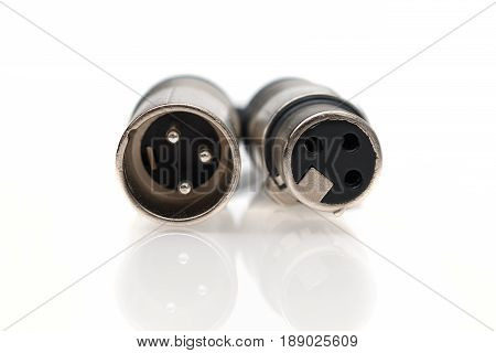 XLR male and female cable. Front view