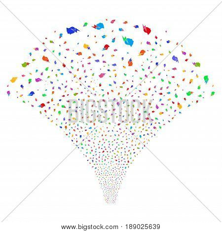 Person Stress Strike salute stream. Vector illustration style is flat bright multicolored iconic symbols on a white background. Object stream fountain constructed from random symbols.