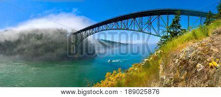 Bridge above the ocean.  Deception Pass Bridge. Anacortes. Whidbey Island. Strait of Juan de Fuca. Puget Sound. WA. USA.