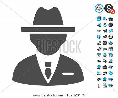 Agent gray pictogram with free bonus symbols. Vector illustration style is flat iconic symbols.