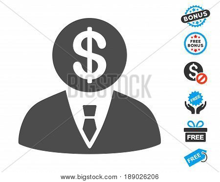 Banker gray pictogram with free bonus pictograms. Vector illustration style is flat iconic symbols.