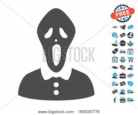 Horror gray pictogram with free bonus pictograph collection. Vector illustration style is flat iconic symbols.
