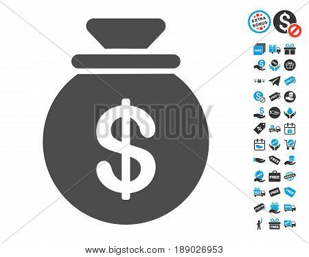 Money Bag gray icon with free bonus pictograph collection. Vector illustration style is flat iconic symbols.