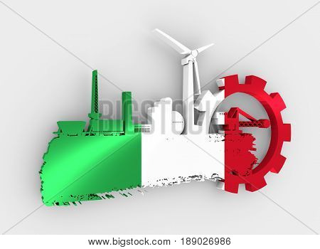 Energy and Power icons set and grunge brush stroke. Energy generation and heavy industry relative image. Flag of the Italy. 3D rendering