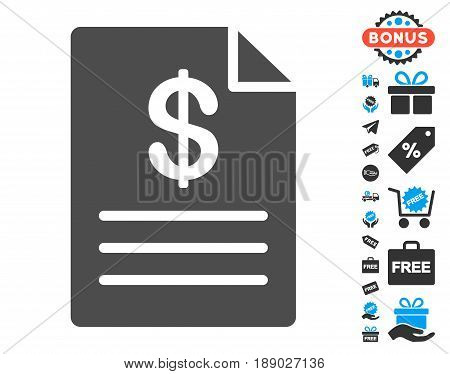 Price List gray pictograph with free bonus pictograms. Vector illustration style is flat iconic symbols.