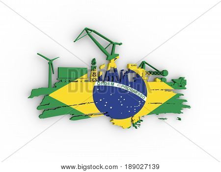 Energy and Power icons set and grunge brush stroke. Energy generation and heavy industry relative image. Flag of the Brazil. 3D rendering