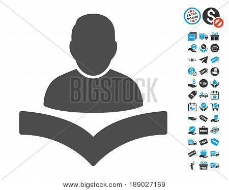 Reader Boy gray pictograph with free bonus elements. Vector illustration style is flat iconic symbols.