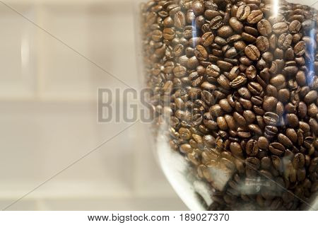 Bean Hopper Filled With Roasted Coffee Beans With Copy Space