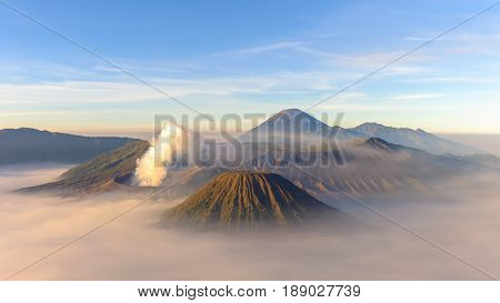 The majestic view over the mount of Bromo,Batok,Semeru & central crater Tengger volcano during beautiful sunrise.The typical way to visit Mount Bromo is from the nearby mountain village of Cemoro Lawang.