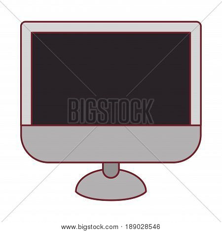 colorful graphic of lcd monitor with dark red line contour vector illustration
