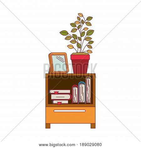 colorful graphic of decorative cabinet table with books and plantpot with dark red line contour vector illustration