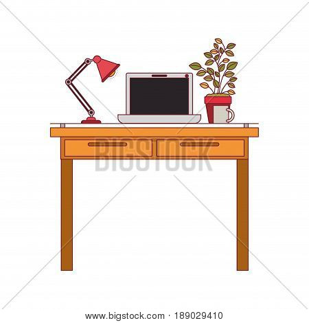 colorful graphic of work place office interior with laptop computer and lamp and plantpot with dark red line contour vector illustration