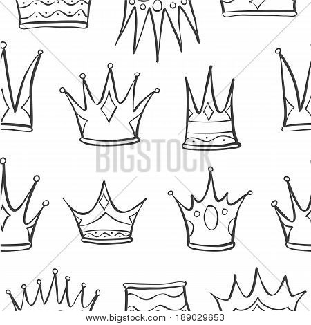 Pattern crown hand draw vector art collection stock