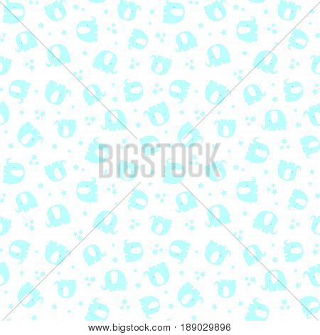 seamless pattern with cute elephants and stars on white background
